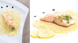 Salmone e purea al limone
